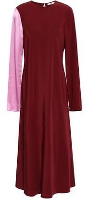 Tibi Hammered Satin-paneled Silk-crepe Midi Dress