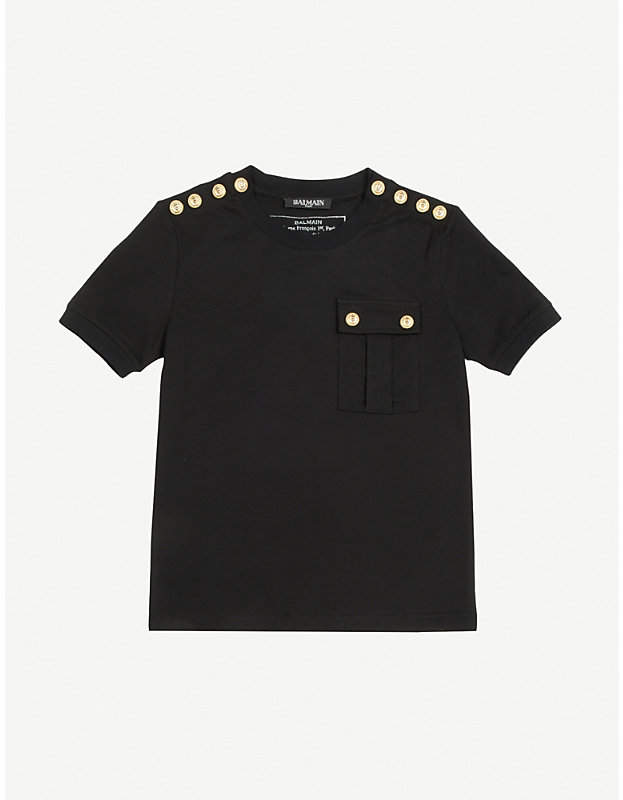 Button-detail cotton T-shirt 8-14 years