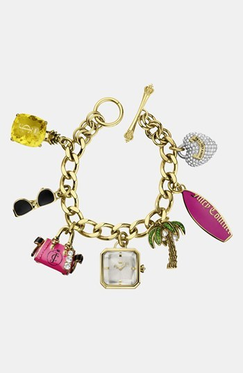 Juicy Couture 'Glam' Charm Bracelet Watch