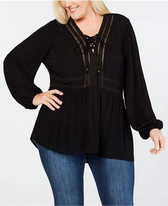 Seven7 Jeans Trendy Plus Size Crochet Lace-Up Top