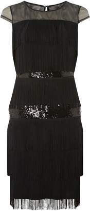 Dorothy Perkins Womens **Lily & Franc Black Sequin Tassel Shift Dress