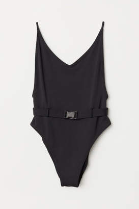 H&M V-neck Swimsuit High leg - Black