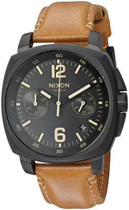 Nixon Men's 'Charger Chrono' Quartz Metal and Leather Watch