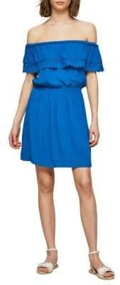 Miss Selfridge Off-the-Shoulder Scallop Trimmed Dress