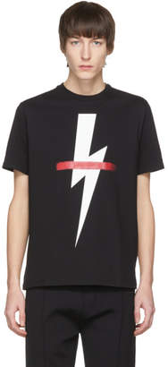 Neil Barrett Black Crossed Out Thunderbolt T-Shirt