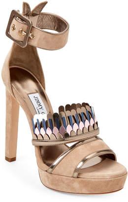 Jimmy Choo Nude Kathleen Fringe Platform Sandals