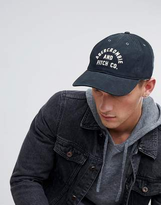Abercrombie & Fitch Logo Twill Baseball Cap in Black