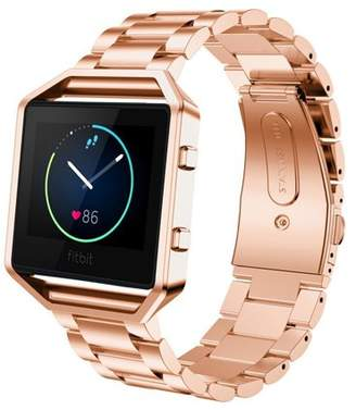 Fitbit Blaze Accessories Watch Band, Mignova Solid Stainless Steel Link Bracelet Replacement Band Strap with Durable Folding Clasp + Metal Frame for Blaze Smart Fitness Watch (Rose Gold)
