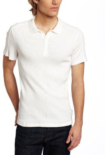 Calvin Klein Sportswear Men's Short Sleeve Mixed Media Rib and Waffle Polo