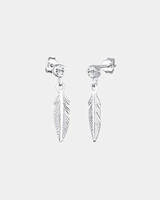 Swarovski Earring 925 Sterling Silver Feather Crystals