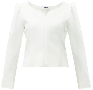 MSGM Sweetheart Neck Cady Blouse - Womens - White