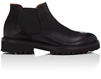 Barneys New York Men's Distressed Leather Chelsea Boots - Black
