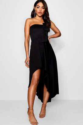 boohoo Bandeau Full Skirt Midi Skater Dress