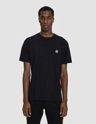 Stone Island S/S Embroidered Logo Tee in Black