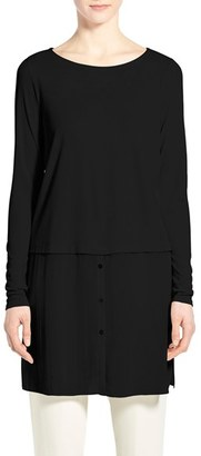 Women's Eileen Fisher Silk Ballet Neck Double Layer Tunic $268 thestylecure.com