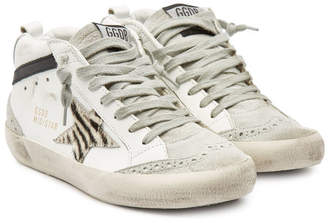Golden Goose Mid Star Leather Sneakers with Suede and Calf Hair