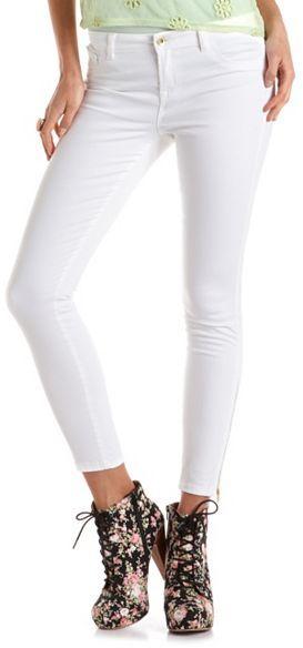 Charlotte Russe Refuge Mid-Rise Ankle-Zip Skinny Jean