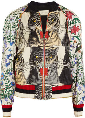 Gucci Appliquéd Printed Silk-twill Bomber Jacket - Red