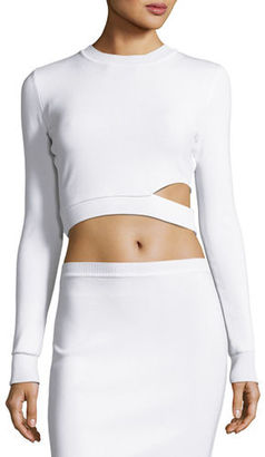 Thierry Mugler Long-Sleeve Cutout Cropped Sweater $1,100 thestylecure.com
