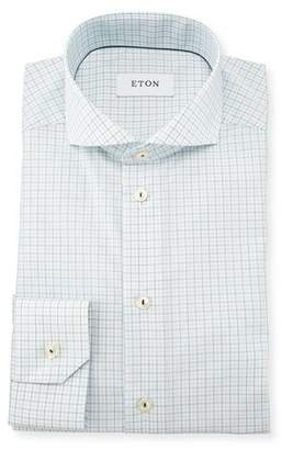 Eton Slim Fit Tattersall Dress Shirt, Green