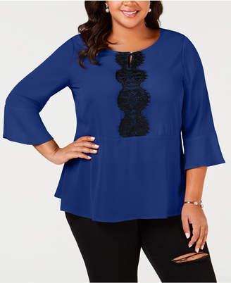 NY Collection Plus Size Lace-Trim Peplum Top