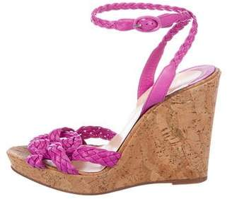 Christian Louboutin Woven Leather Wedge Sandals