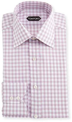 Tom Ford Slim-Fit Check Cotton-Linen Dress Shirt
