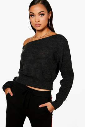 boohoo Slash Neck Crop Fisherman Jumper