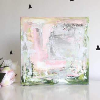 Paint-Me-Happy Art Pastel Pink Modern Abstract Wall Art Original Canvas