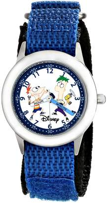 Disney Kids' W000376 Phineas and Ferb Stainless Steel Time Teacher Blue Velcro Strap Watch