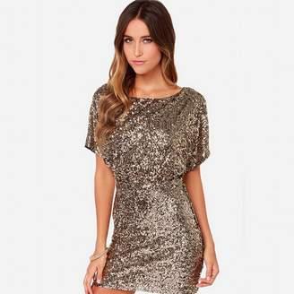 Romacci Women Sparkling Sequin Dress Split Short Bodycon Mini Dresses