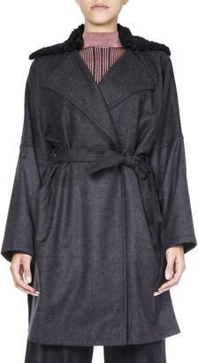 McQ Pied-de-poule Grey Belted Coat