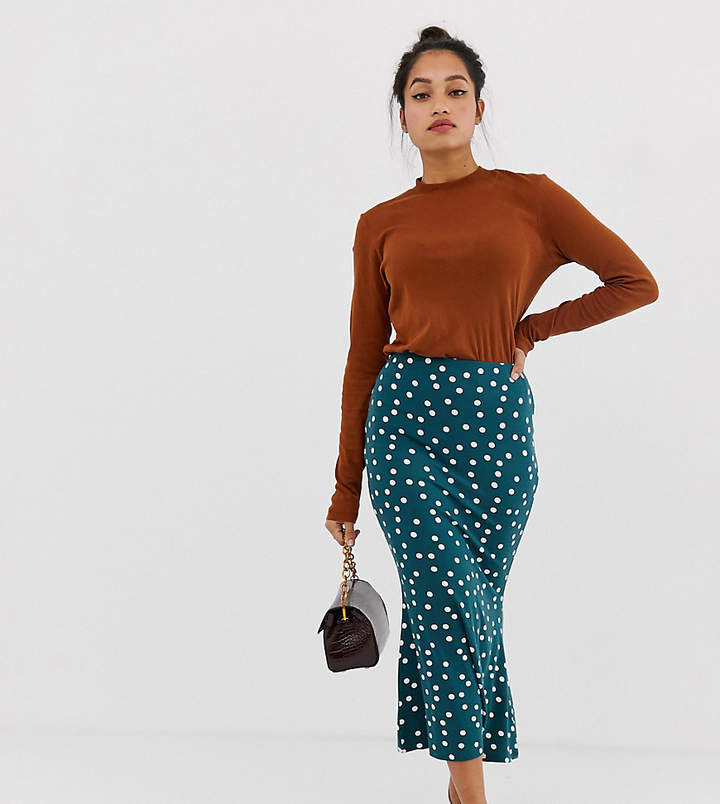 ASOS Petite ASOS DESIGN Petite kickflare midi skirt in polka dot