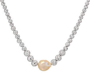 "Honora Ming Cultured Pearl & Diamond Cut SterliBead 18"" Neckl"