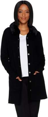 Isaac Mizrahi Live! 2-Ply Cashmere Cardigan with Faux Fur Collar