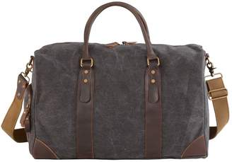 EAZO - Canvas & Leather Kit Gym Bag In Black