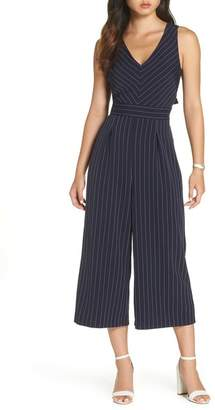 1901 Pinstripe Tie Back Crop Jumpsuit (Regular, Petite & Plus Size)