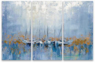 Boats In The Harbor I Triptych Printed Aluminum