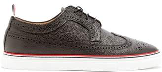 Thom Browne Longwing Grained Leather Brogues - Mens - Black