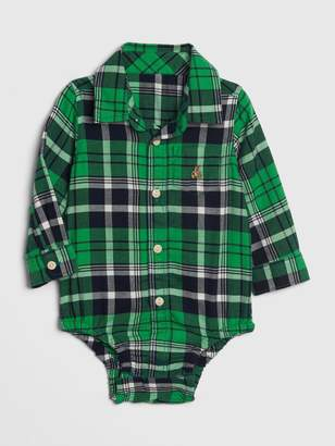 Gap Baby Brannan Bear Plaid Bodysuit
