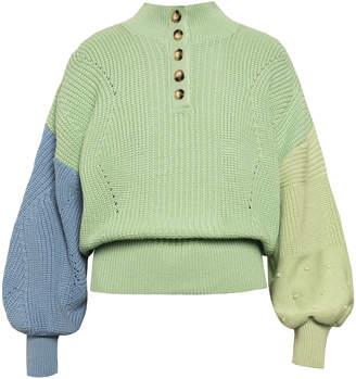 Olga Anna October Texture-Blocked Button-Neck Sweater Size: M