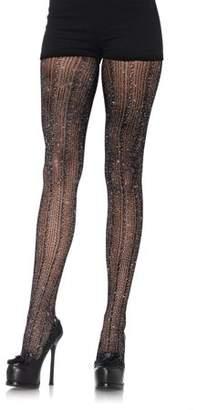 Leg Avenue Women's Spandex Crocheted Striped Lurex Pantyhose, Black/Silver, One Size
