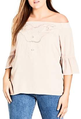 City Chic Plus Festival Fun Off-the-Shoulder Top