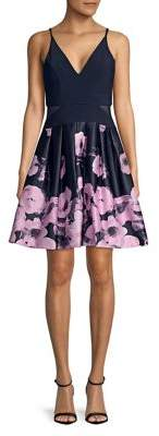 Xscape Evenings Floral V-Neck Fit-&-Flare Dress