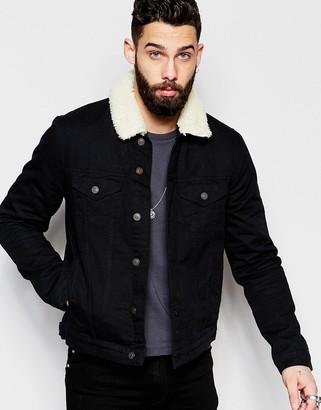 dc11e7c0861d Asos Denim Jacket With Borg Collar In Black Wash