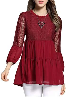 Olrain Women's Plus Size T-shirts Lace Chiffon Casual Loose Blouse Tops