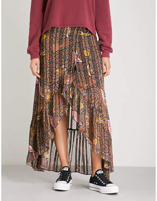 BA&SH Dalvi asymmetric floral-print crepe maxi skirt