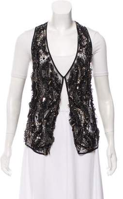 Richard Chai Sheer Embellished Vest