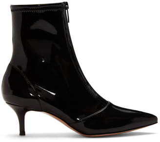 Gianvito Rossi Black Vinyl Zipper Boots