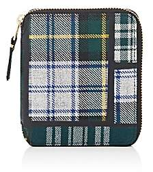 Comme des Garcons Men's Plaid Coin Pocket Zip-Around Wallet-Green